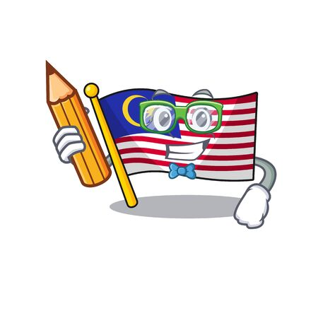 Student flag malaysia cartoon isolated with character vector illustration