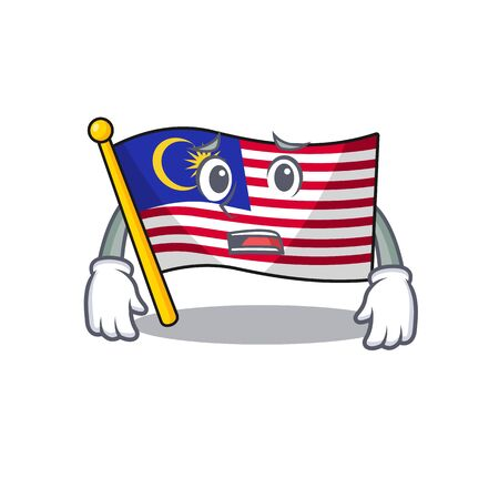 Afraid flag malaysia hoisted on cartoon pole illustration vector