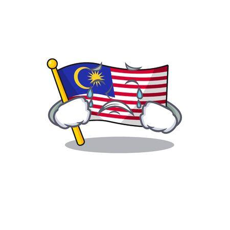 Crying flag malaysia hoisted on cartoon pole illustration vector