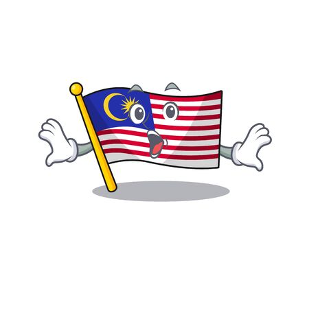 Surprised flag malaysia hoisted on cartoon pole illustration vector Ilustração