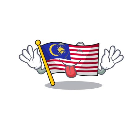 Tongue out malaysia mascot flag kept in cupboard illustration vector Иллюстрация