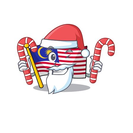 Santa with candy malaysia mascot flag kept in cupboard illustration vector