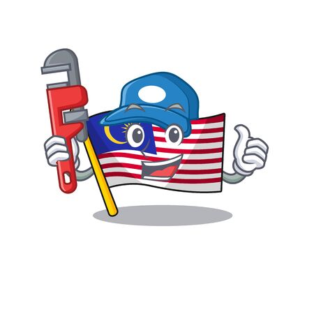 Plumber malaysia mascot flag kept in cupboard illustration vector