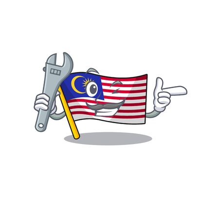 Mechanic malaysia mascot flag kept in cupboard illustration vector