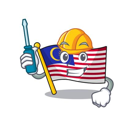 Automotive malaysia mascot flag kept in cupboard illustration vector