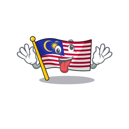 Crazy malaysia mascot flag kept in cupboard illustration vector