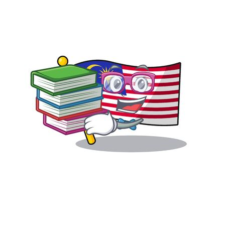 Student with book malaysia mascot flag kept in cupboard illustration vector