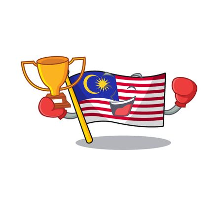 Boxing winner malaysia mascot flag kept in cupboard illustration vector