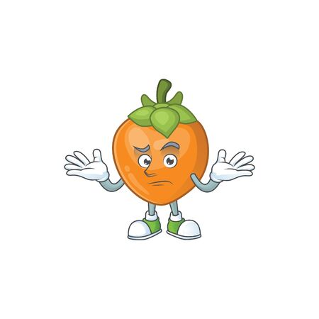Grinning persimmon cartoon character isolated with mascot vector illustration Ilustracja