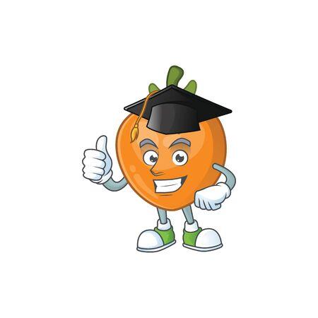 Graduation persimmon cartoon character isolated with mascot vector illustration 向量圖像