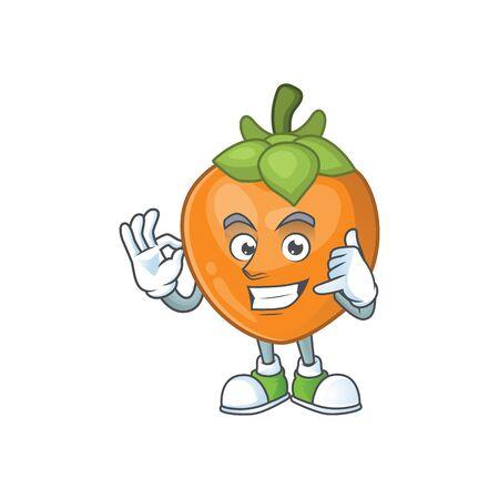 Call me cute persimmon cartoon style with mascot Ilustração