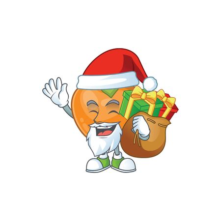 Santa with gift cute persimmon cartoon style with mascot