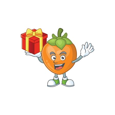 Bring gift cute persimmon cartoon style with mascot