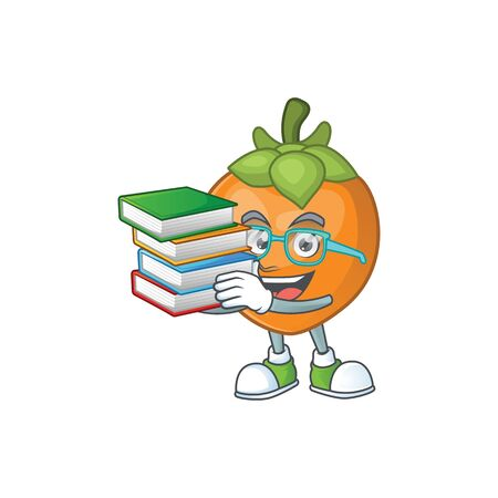Student with book cute persimmon cartoon style with mascot Иллюстрация