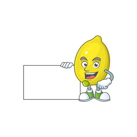 With board lemon cartoon character for recipe food Stock Illustratie