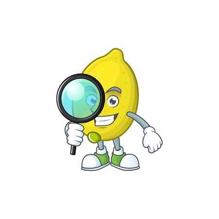 Detective lemon character with design cartoon mascot