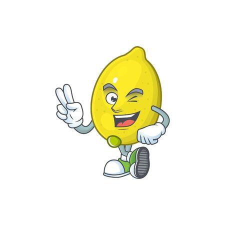 Two finger lemon character with design cartoon mascot vector illustration