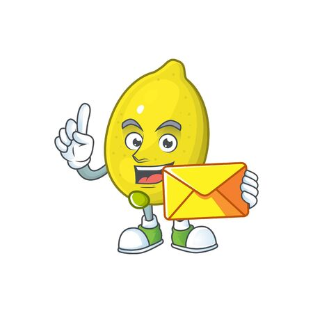 With envelope lemon character with design cartoon mascot