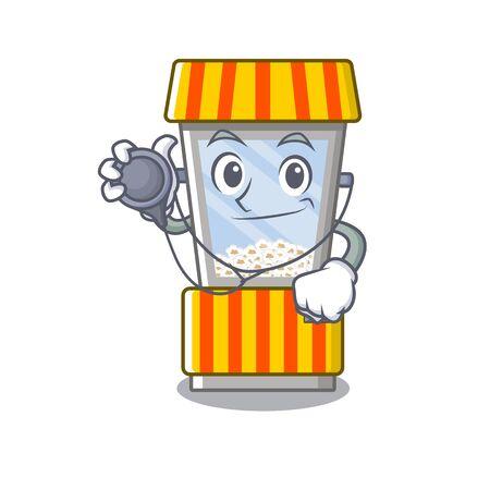Doctor popcorn vending machine cartoon isolated mascot vector illustration