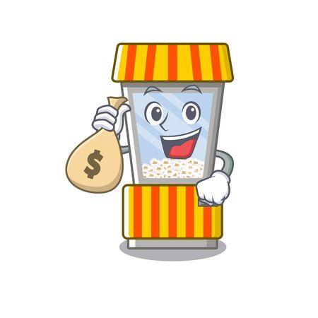 With money bag popcorn vending machine cartoon isolated mascot vector illustration