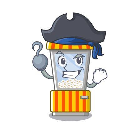 Pirate popcorn vending machine cartoon isolated mascot vector illustration
