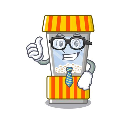 Businessman popcorn vending machine in a character vector illustration