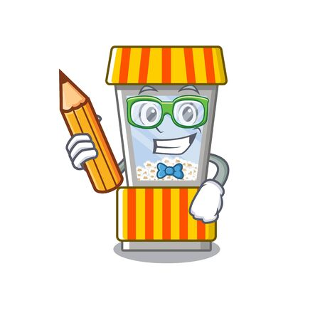 Student popcorn vending machine in a character vector illustration Stock Illustratie