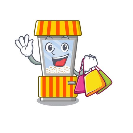Shopping popcorn vending machine in a character vector illustration