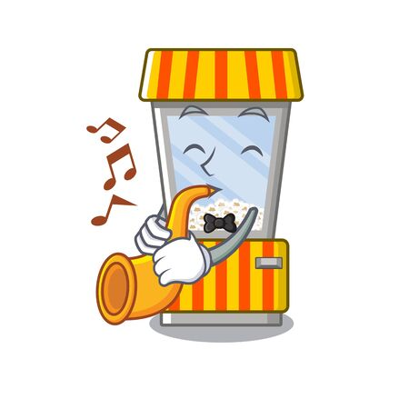 With trumpet popcorn vending machine is formed cartoon illustration vector Иллюстрация