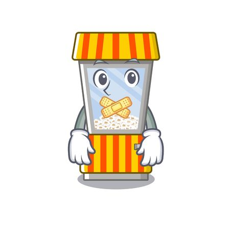 Silent popcorn vending machine in mascot shape vector illustration