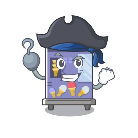 Pirate ice cream vending machine cartoon formed character vector illustration