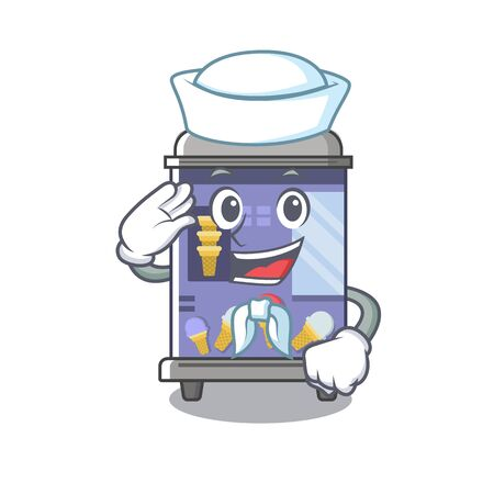 Sailor ice cream vending machine cartoon formed character vector illustration Stock Illustratie