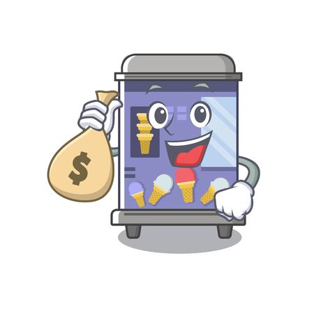 With money bag ice cream vending machine cartoon formed character vector illustration Stock Illustratie