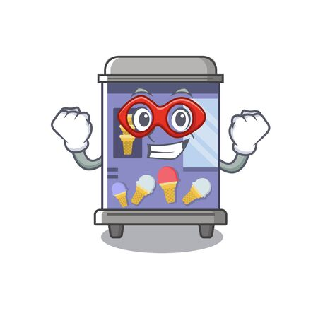 Super hero ice cream vending machine isolated the cartoon vector illustration