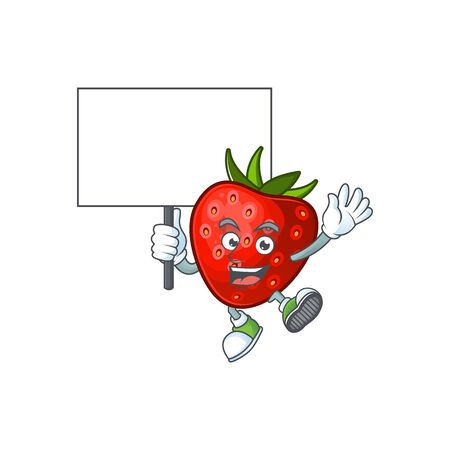 Bring board red strawberry for design character mascot vector illustration