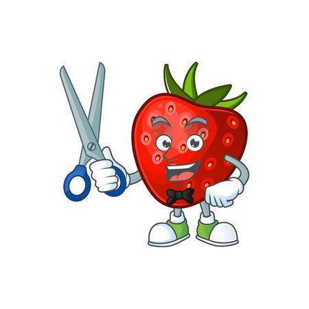 Barber red strawberry for design character mascot vector illustration