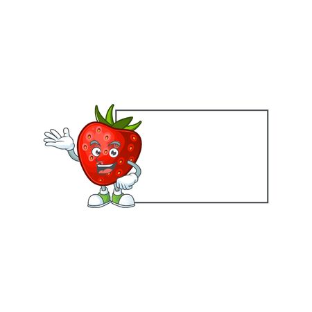 Thumbs up with board red strawberry for design character mascot vector illustration