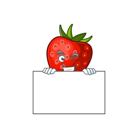 Grinning with board red strawberry for design character mascot vector illustration Иллюстрация