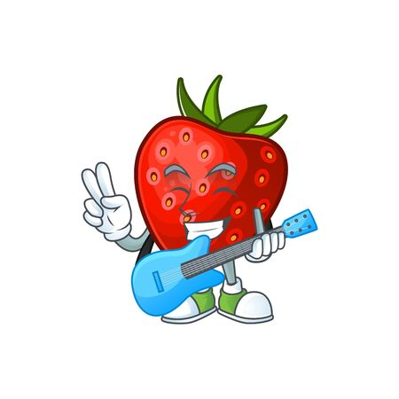 With guitar strawberry fruit mascot for cartoon character vector illustration Иллюстрация