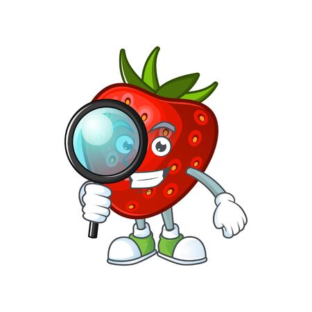 Detective red strawberry character mascot for symbol cartoon vector illustration
