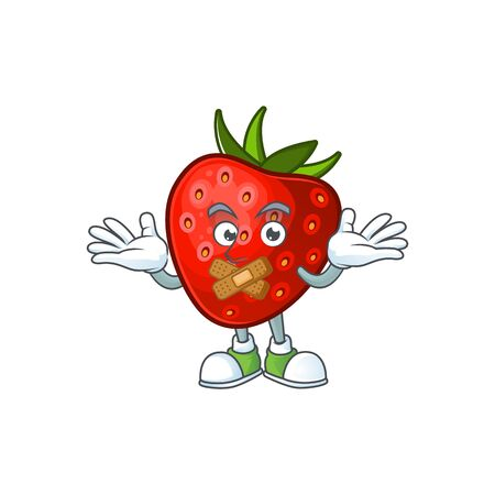 Silent sweet strawberry cartoon character for dessert vector illustration
