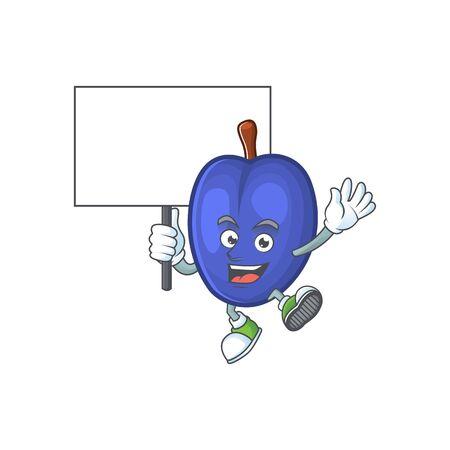 Bring board fruit prunes cartoon on white background. vector illustration