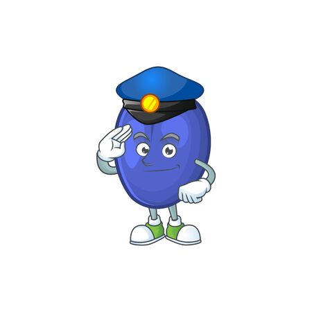 Police fruit prunes cartoon on white background. vector illustration
