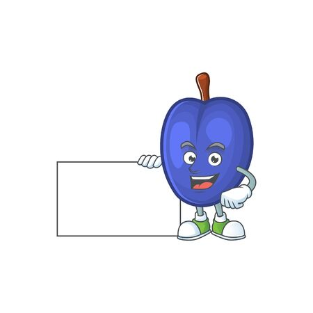 With board fruit prunes cartoon on white background. vector illustration