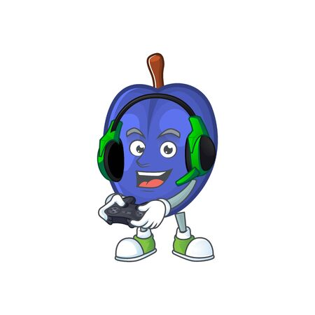 Gaming fruit prunes cartoon on white background. vector illustration
