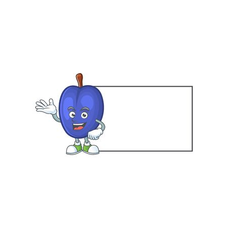 Thumbs up with board fruit prunes cartoon on white background. vector illustration Иллюстрация