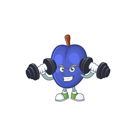 Fitness fruit prunes cartoon on white background. vector illustration