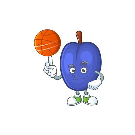 With basketball fruit prunes cartoon on white background. vector illustration