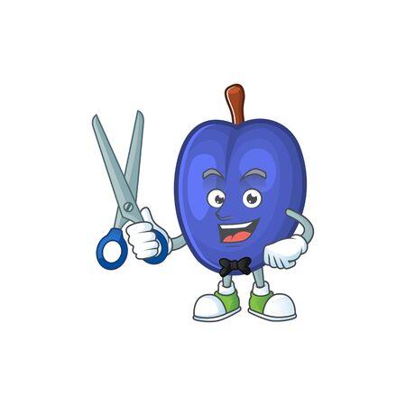 Barber fruit prunes cartoon on white background. vector illustration