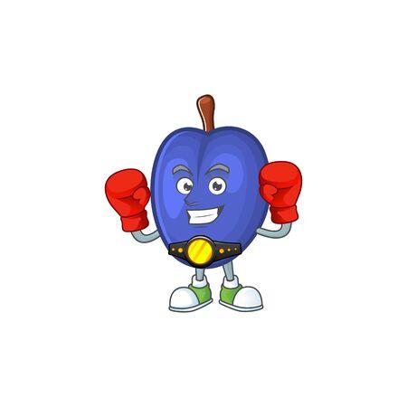 Boxing fruit prunes cartoon on white background. vector illustration Stock Illustratie